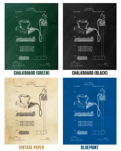 Electric Iron Poster Print House Warming Gifts Retro Laundry Room House Cleaning