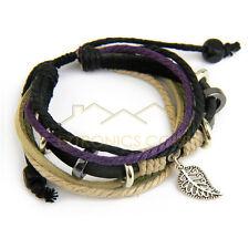 New Ethnic hemp leather strap Charm bracelet wristband leaf handicraft Cream-col