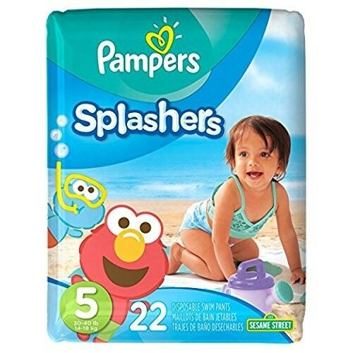 22 Pampers Splashers - Disposable Swim Pants Sesame Street - Size 5 - 30-40 lbs
