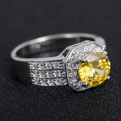 Elegant Argent 925 Bijoux Round Cut jaune citrine femmes bague de mariage Taille 6-10