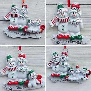 Personalised Family of 2,3,4,5 Ornament//Decoration Sleigh Family