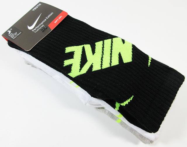 fffbd12ceb4 Nike 3 Pair Performance Cotton Cushioned Training Crew Socks Boys ...
