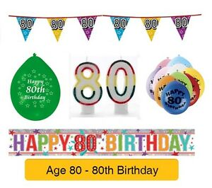 Image Is Loading AGE 80 Happy 80th Birthday Party Balloons Banners