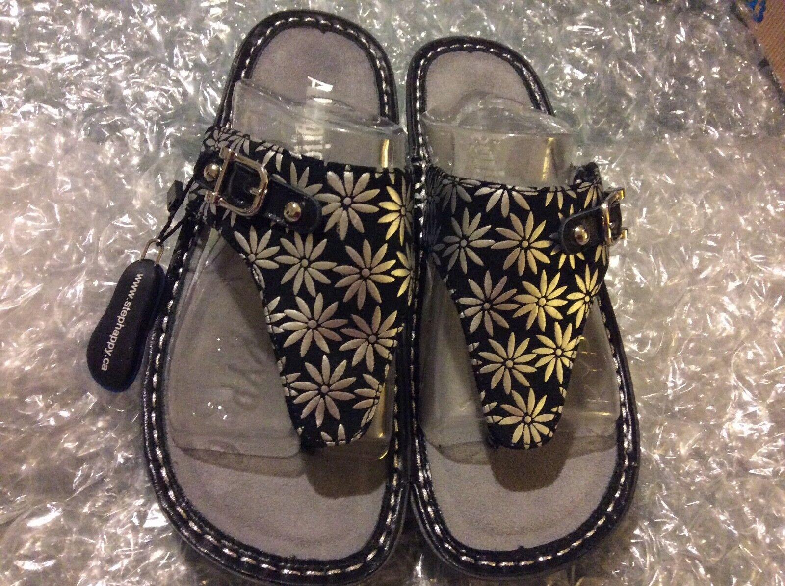 ALGRIA VANNESSA VAN -321 GERBER DAISY nero  argento Thong  Sandal EU 37 US 7 (4500)  shopping online di moda