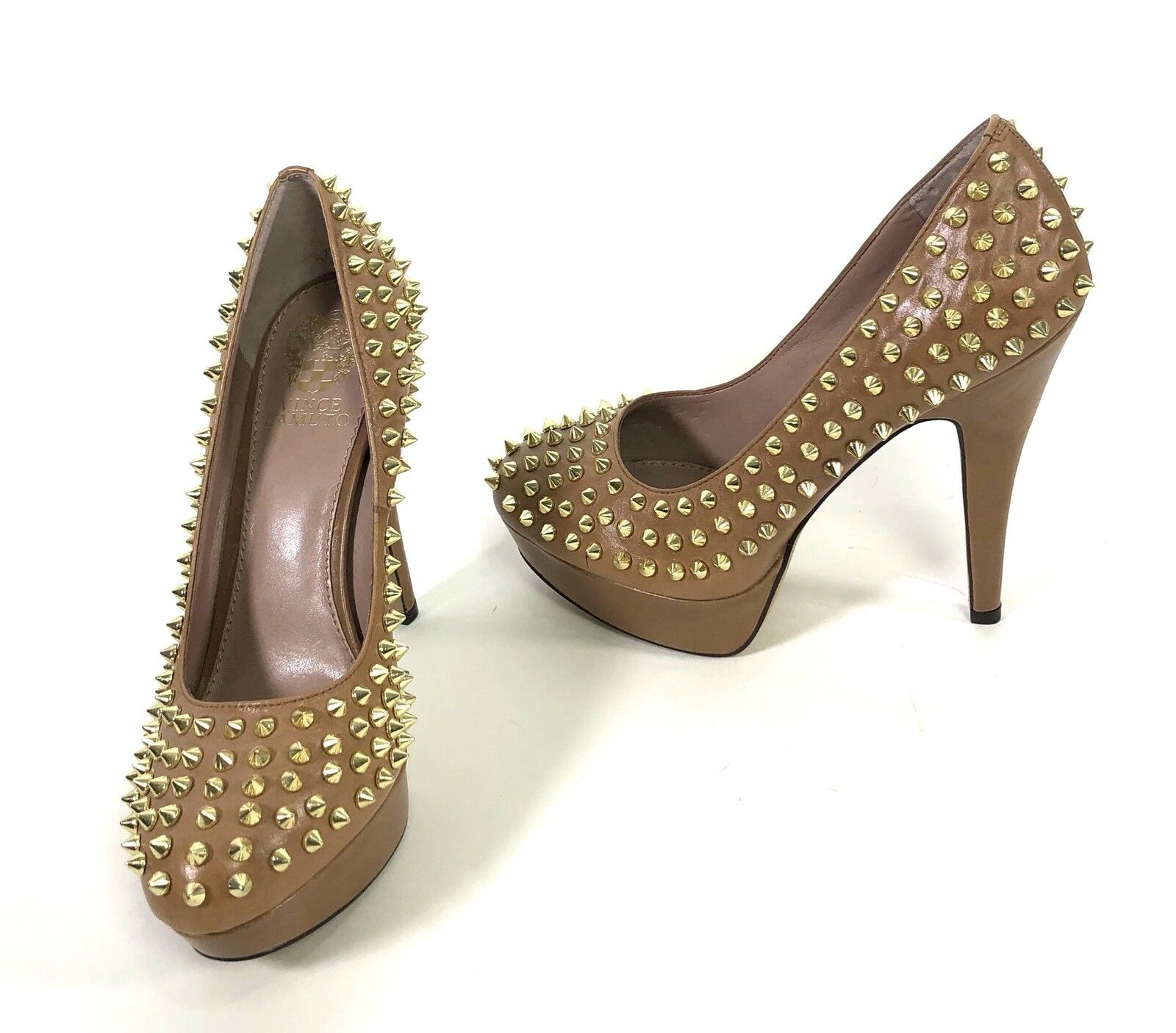 Vince Camuto MADELYN 7.5 Tan Spiked High Heel Platform Pumps Neiman Marcus FLAW