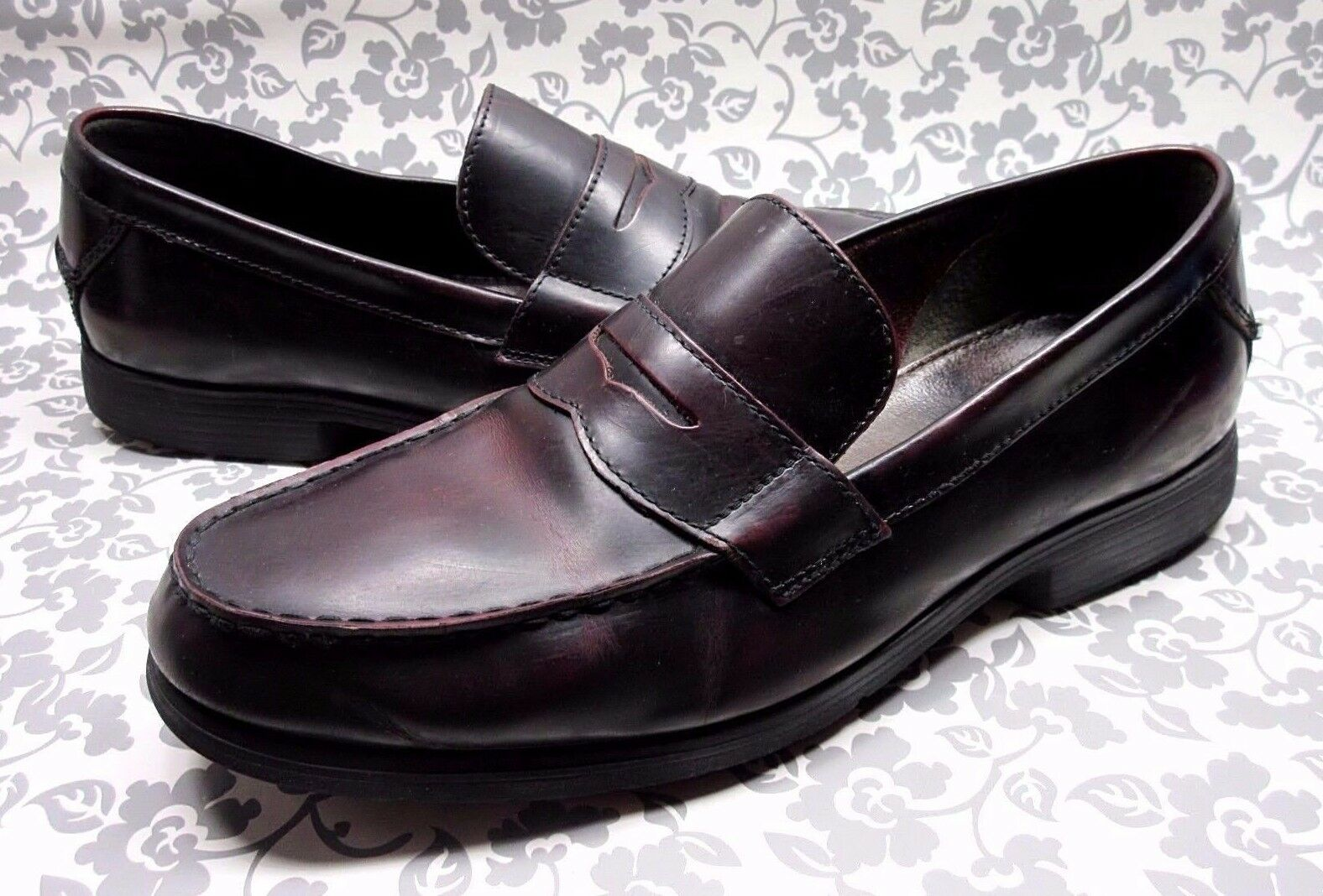 BOSTONIAN MENS PENNY LOAFERS 10 M BURGUNDY LEATHER MOC SLIP ON SHOES