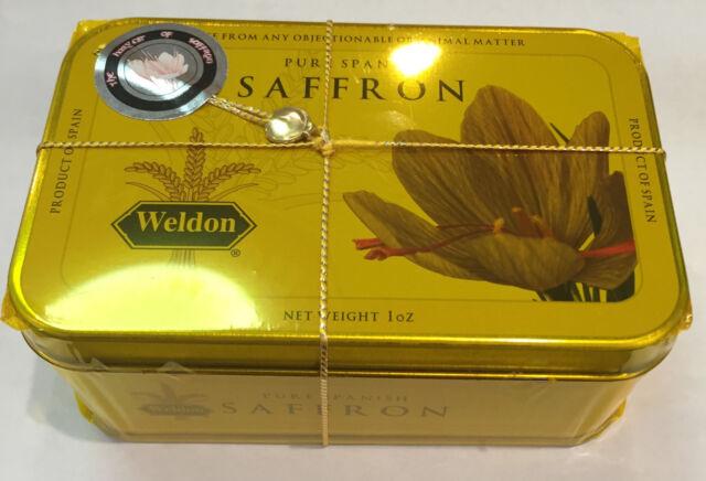 Kosher Certified Spanish Saffron 1oz / 28.35 grams in a tin can