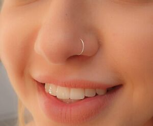 Silver Nose Ring  white opal nose ring   cut wire nose ring  nose ring opal  20g nose ring  nose ring hoop  thin nose ring  nose ring
