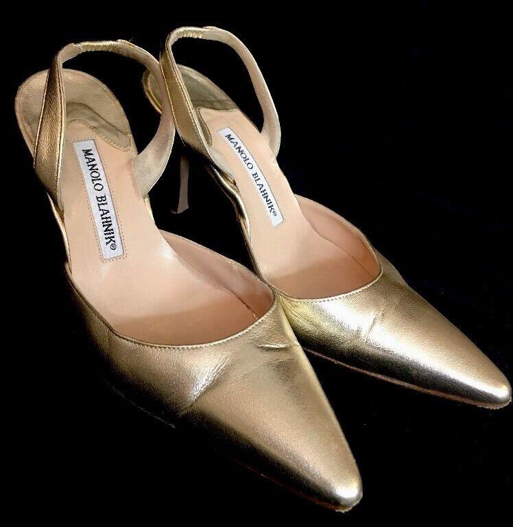 Manolo Blahnik chaussures or Metallic Sling Taille 36