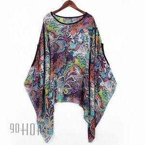 Womens-Baggy-Oversize-Plus-Size-Batwing-Tunic-Top-Blouse-Floral-Chiffon-Kaftan