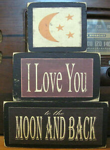 I-Love-You-To-The-Moon-And-Back-Primitive-Rustic-Stacking-Blocks-Wooden-Sign-Set
