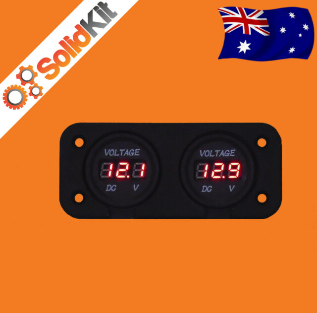 Dual Battery Monitor Digital Volt Meter LED 12v 24v volt for VSR DC Isolator AGM