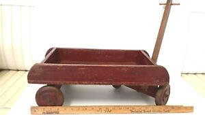 OLD-DECORATIVE-Wooden-Red-Wagon-Vintage-Collectible-Very-Good-Condition