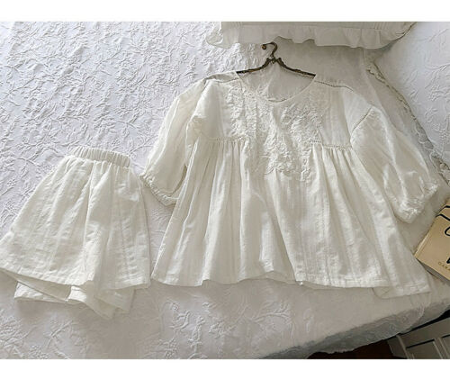 Womens  Victorian Style Cotton /& Lace Pyjama Set Top,Knickers Bridal Lounge Wear