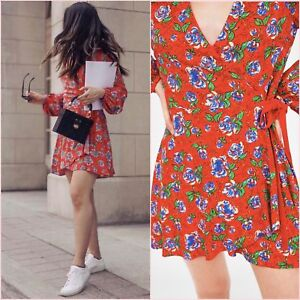 ba12c3d2437 Image is loading ZARA-RED-BLUE-GREEN-FLORAL-PRINT-CROSSOVER-JUMPSUIT-