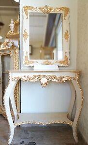 Consolle E Specchio.Dettagli Su Entratina Consolle E Specchio In Legno Panna E Foglia Oro Con Cristalli Strass