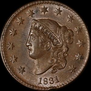 1831 Large Cent Large Letters BU Details N.7 R.1 Superb Eye Appeal