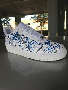 Custom Nike Air Force 1 White Blue Black Splatter Paint Uk Size 7