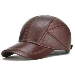 6be77b3d846 Men s Ear Hat 100% Genuine Leather Hat Winter Warm Cowhide Baseball ...