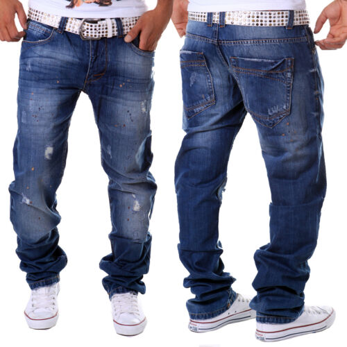 Hommes Jeans Pantalon straight fit Cargo Skinny Clubwear Style Bleu Vintage Neuf j6.9
