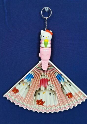 RARE Vintage Sanrio HELLO KITTY ANGELS Pink Folding HAND FAN Keychain Japan NEW