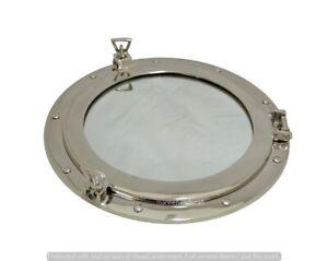 Brass-Porthole-Window-15-034-Chrome-Finish-Marine-Ship-Porthole-Mirror-Wall-Decor