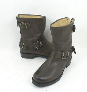 2d5e6a084a15 New Frye Veronica Back Zip Short Gray Size 5.5 B Moto Biker Leather ...