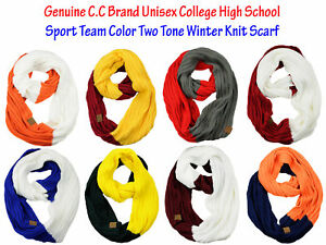 NEW-CC-Scarf-Unisex-College-Team-Color-2-Tone-Winter-Knit-Infinity-Scarf