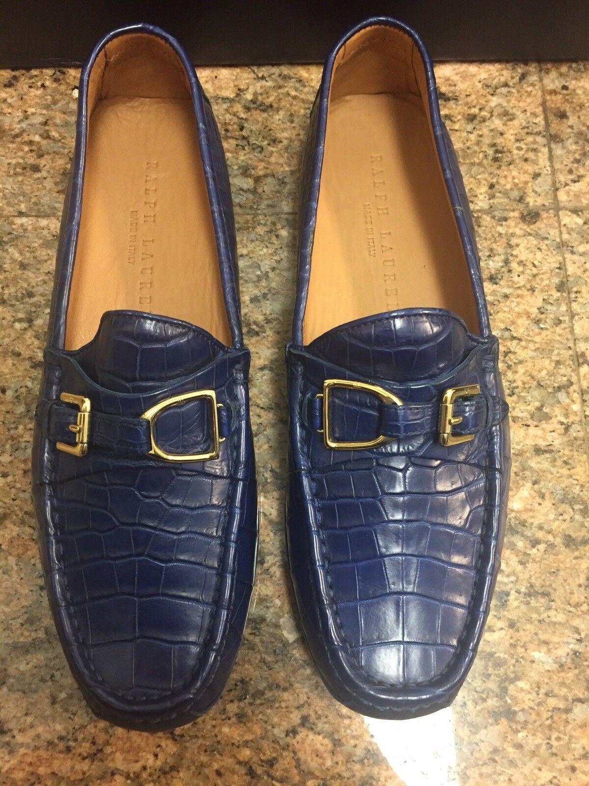 Ralph Lauren RL Genuine Crocodile bluee Driving shoes NIB