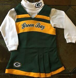 new styles 72664 22c75 Details about Green Bay Packers Dress Size 24 Months 2T Cheerleader  Halloween 2 Piece Girls