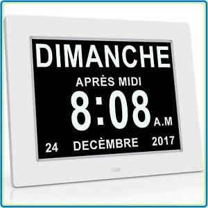 Pendule LCD Maladie Alzheimer Horloge Numérique Calendrier Grand Chiffre Oldtime