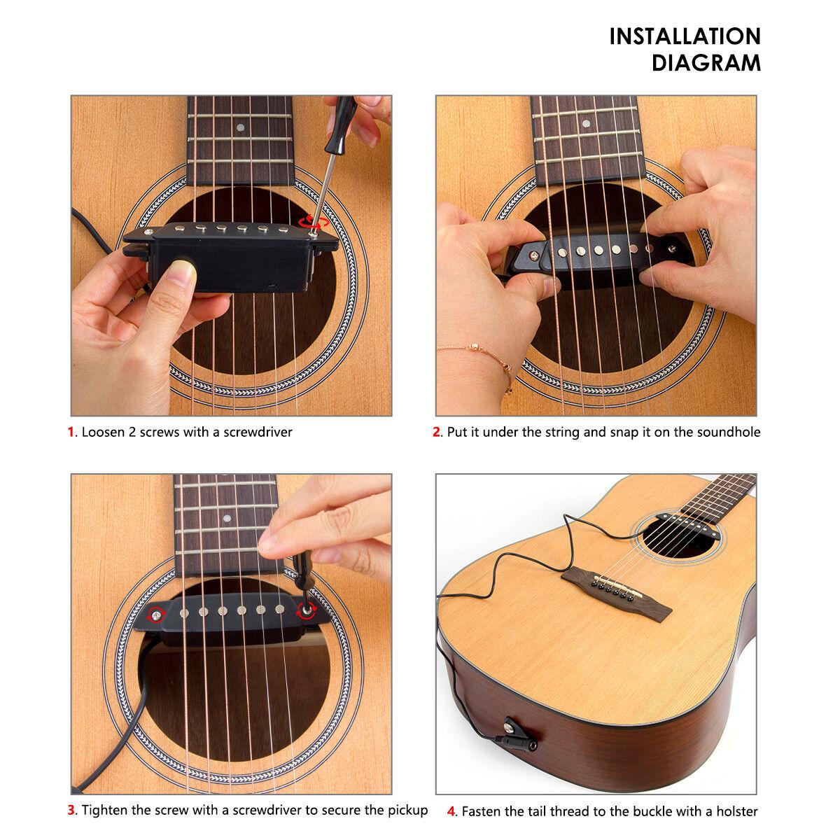Kmise Acoustic Guitar Soundhole Pickup Passive With Power Jack Parts Diagram Sh 85 Black