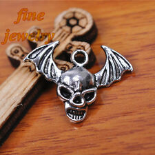 50Pcs 22mm Charms Skull Bat Pendant Tibet Silver Bead Hook Bail DIY Jewelry 7174