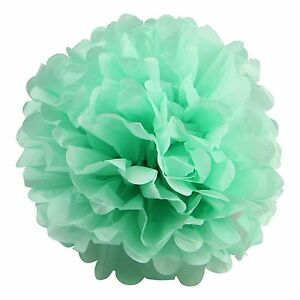 20 Pcs of Mint Tissue Paper Pom Poms 16 inches for all Wedding & Party occasions