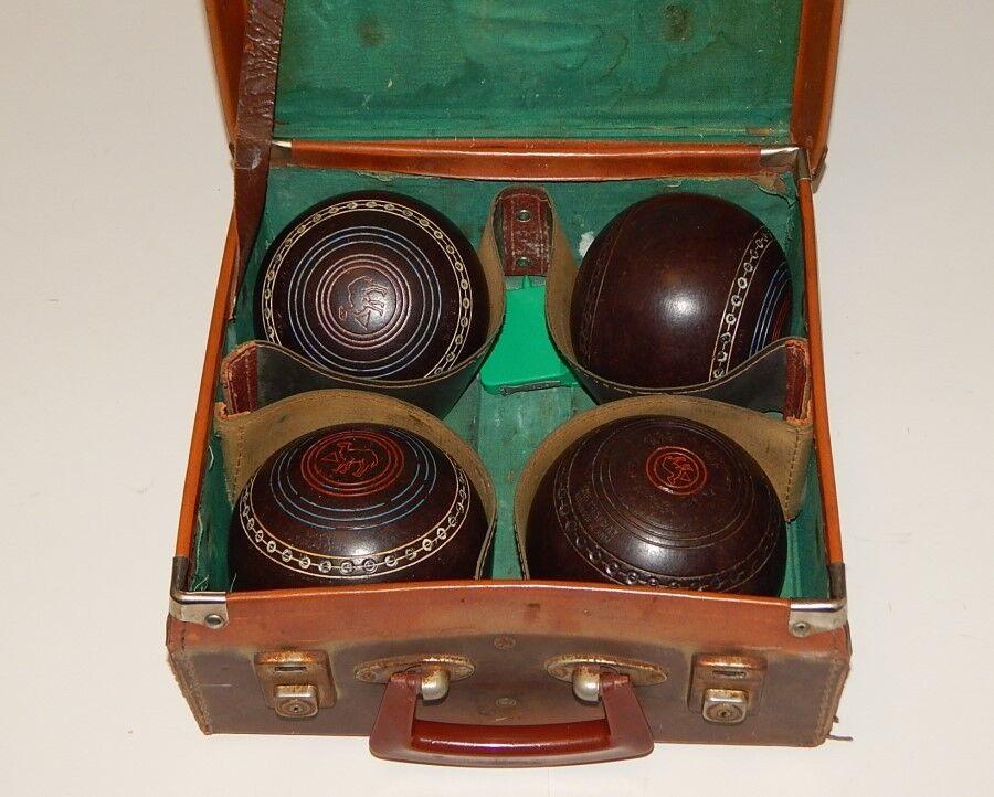 Vintage Retro HENSELITE CHAMPIONSHIP Size 4 7 8 Bowls Leather Carry Case & Tape