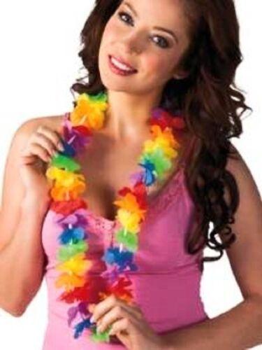 BULK LEI HAWAIIAN MULTICOLOUR  LEIS IN  FLOWER GARLAND NECKLACE FANCY DRESS