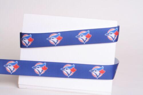 "TORONTO BLUE JAYS 7//8/"" GROSGRAIN RIBBON 1,3,5,10 YARDS BASEBALL SHIP FROM USA"