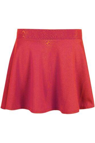Kids Mini Skirt High Waisted Stretch Skater Skirt Girls Flared Uniform School