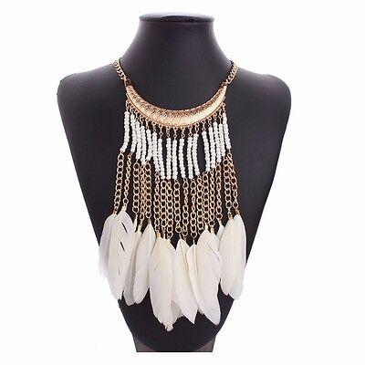 Beige Feather Tassel Bib Golden Tone Chain Seed Beads Statement Necklace