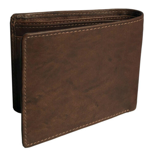 Personalized Leather RFID Blocking Bifold Slim Men/'s Wallet With ID Window