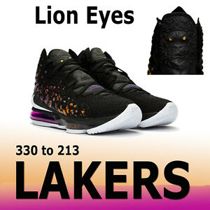 "NIKE LEBRON XVII 17 LAKERS ""LION EYES"" KNITPOSITE EGGPLANT PURPLE BQ3177 9.5 14"