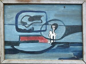 Expressionist-Arne-Abstract-Composition-with-Figures-Mid-Century-Vintage-1965
