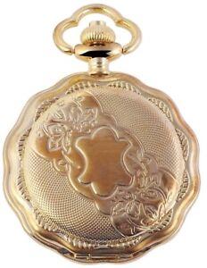 Classique-Taschenuhr-Weiss-Gold-Wappen-Muster-Analog-Quarz-X485802000001