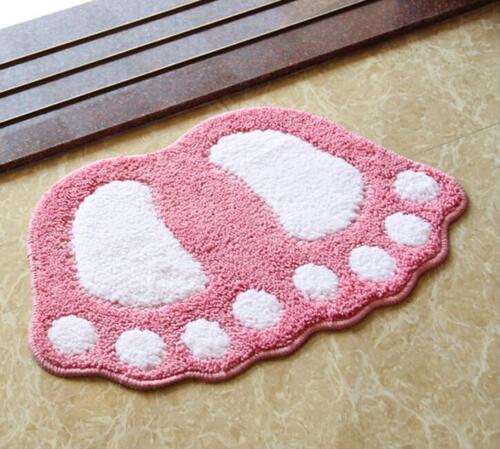 Bathroom Mat Microfiber Non-slip Foot Print Bath Carpet Toilet Rug Mini Pad Tool