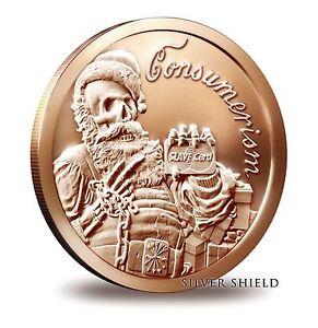 2014-Silver-Shield-Santa-Slave-1-oz-Copper-Round-Direct-From-Mint-Tube