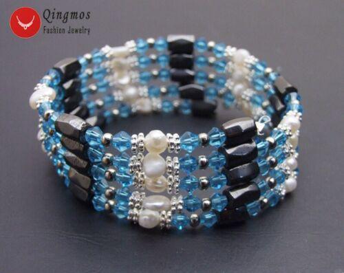 "4-5 Mm Blanc Baroque Natural Pearl Bracelet pour femmes rose cristal hématite 36/"""