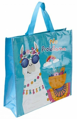 Eco-Friendly Re-Useable Folding Carrier Shopping Grocery Holiday Blue Llama Bag