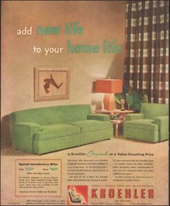 Vintage Ad For Kroehler Furniture Retro Green Couch Lamp Chair