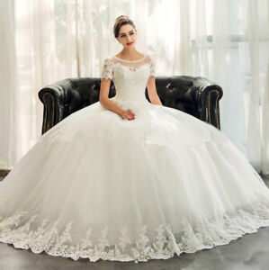 Image Is Loading Ball Gown Beading Sequins Lace Wedding Dresses Bridal