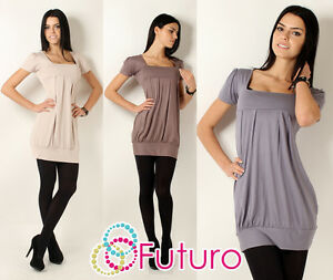 Elegant-Womens-Mini-Dress-Square-Neck-Short-Sleeve-Top-Tunic-Sizes-8-18-8943